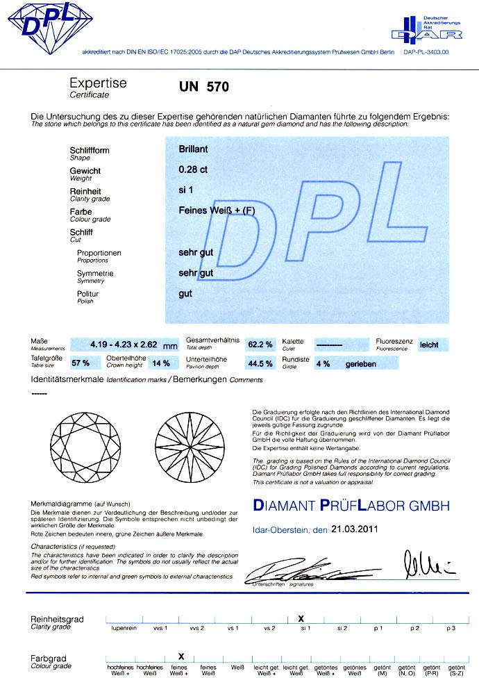 Foto 9, 0,28ct Brillant Top Wesselton Plus F SI1 DPL Zertifikat, D6607