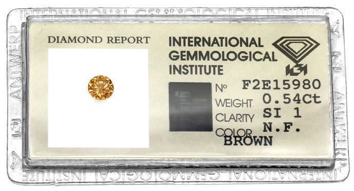 Foto 1, Diamant 0,54ct Brilliant in Fancy Cognac Bronze SI1 IGI, D6610