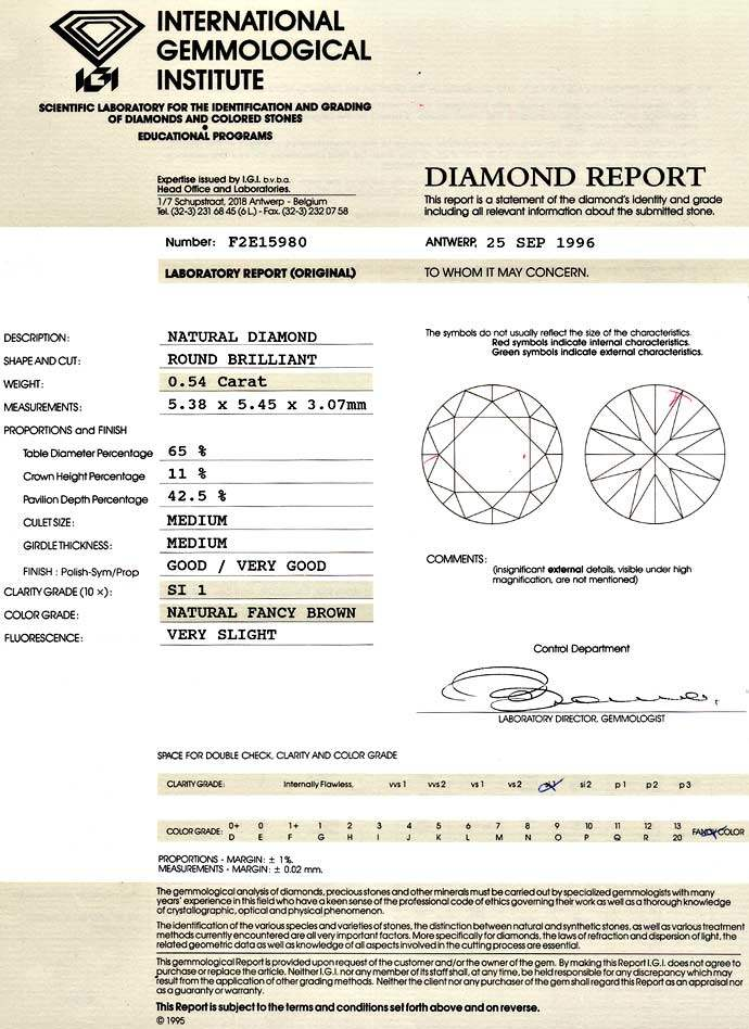 Foto 9, Diamant 0,54ct Brilliant in Fancy Cognac Bronze SI1 IGI, D6610