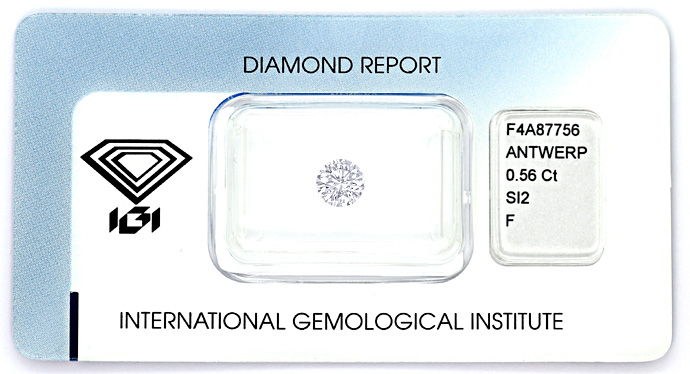 Foto 1, 0,56ct Brillant Zertifikat von IGI in Top Wesselton SI2, D6611