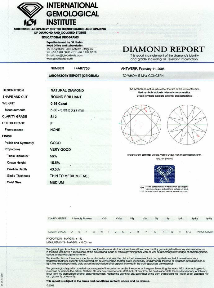 Foto 9, 0,56ct Brillant Zertifikat von IGI in Top Wesselton SI2, D6611
