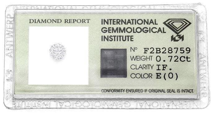 Foto 1, 0,72ct Brillant Zertifikat von IGI in River E Lupenrein, D6612