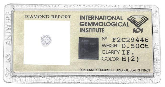 Foto 1, 0,50 ct Brillant in Lupenrein Weiss, Zertifikat von IGI, D6614