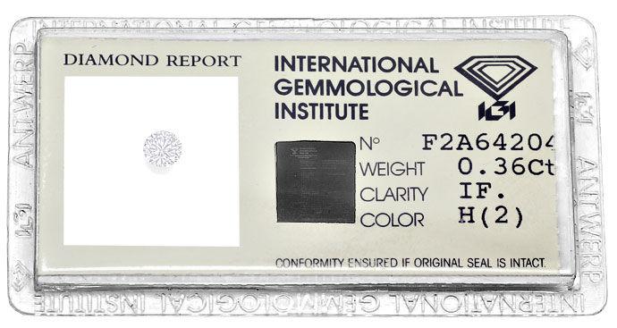 Foto 1, 0,36ct Brillant Zertifikat von IGI, Lupenrein Wesselton, D6615