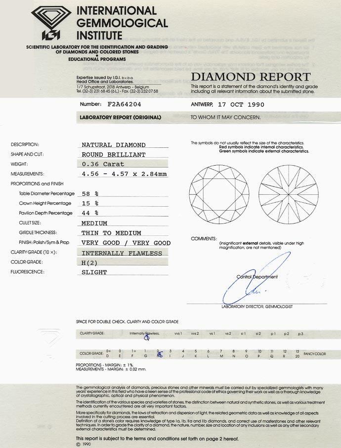 Foto 9, 0,36ct Brillant Zertifikat von IGI, Lupenrein Wesselton, D6615