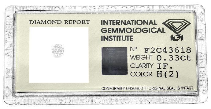 Foto 1, Brillant 0,33ct Zertifikat von IGI in Lupenrein Weiss H, D6616