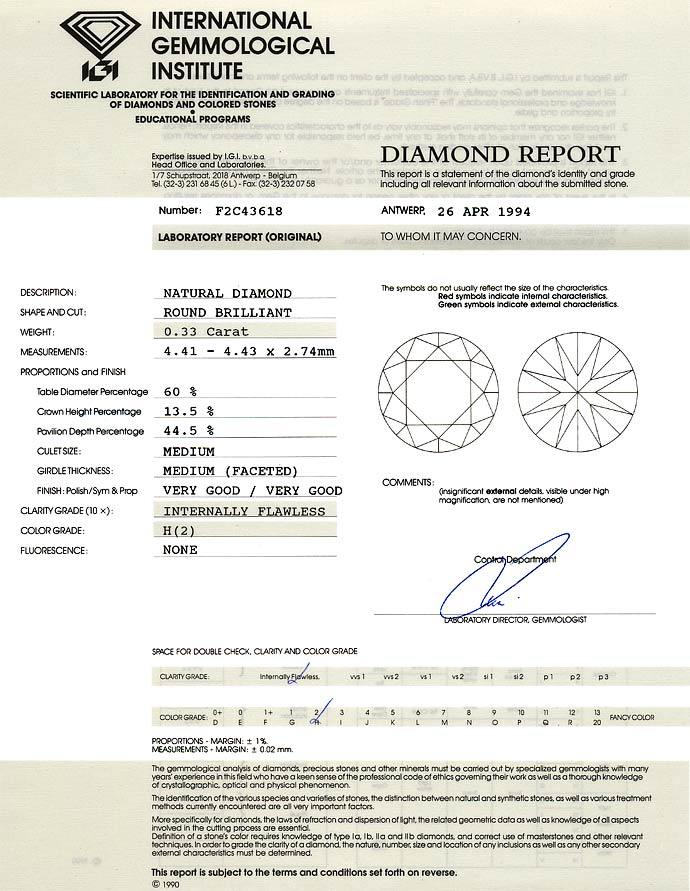 Foto 9, Brillant 0,33ct Zertifikat von IGI in Lupenrein Weiss H, D6616