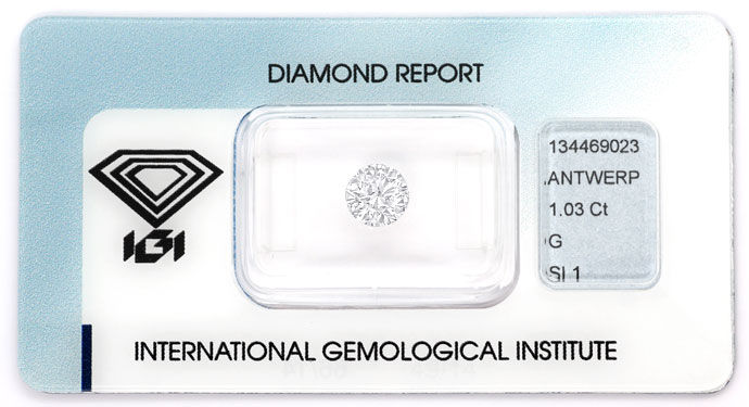 Foto 1, 1,03ct Brillant in Top Wesselton SI1 Zertifikat von IGI, D6617
