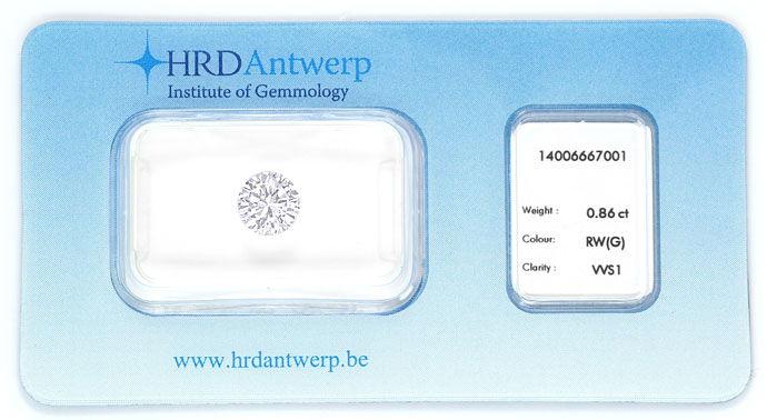Foto 1, Brillant 0,86ct Zertifikat von HRD Top Wesselton G VVS1, D6618