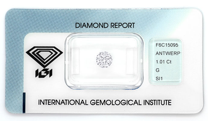 Foto 1, 1,01ct Brillant mit IGI-Zertifikat in Top Wesselton SI1, D6626