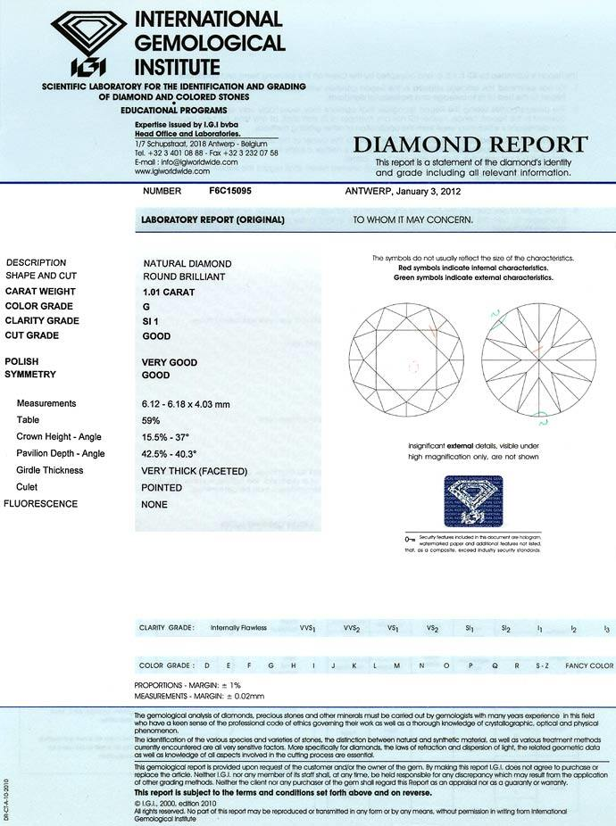 Foto 9, 1,01ct Brillant mit IGI Zertifikat in Top Wesselton SI1, D6626