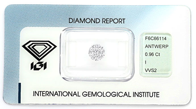 Foto 1, 0,96ct Brillant Zertifikat von IGI in Top Crystal, VVS2, D6627