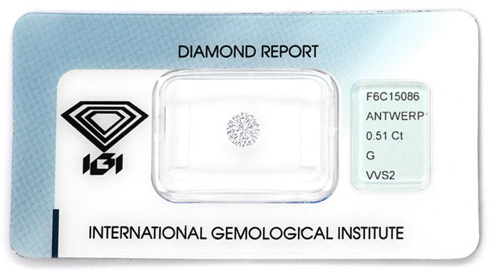 Foto 1, 0,51ct Brillant in Top Wesselton VVS2 mit IGI Expertise, D6634