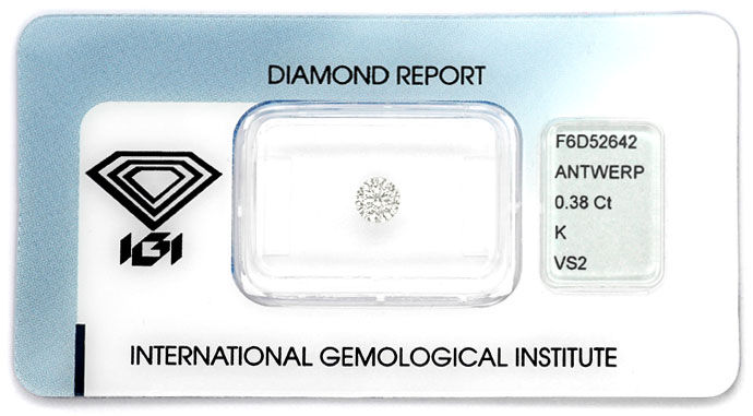 Foto 1, Diamant 0,38ct Brillant Zertifikat von IGI, Top Cape VS, D6637