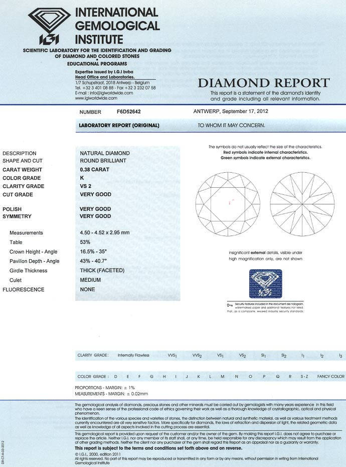 Foto 9, Diamant 0,38ct Brillant Zertifikat von IGI, Top Cape VS, D6637