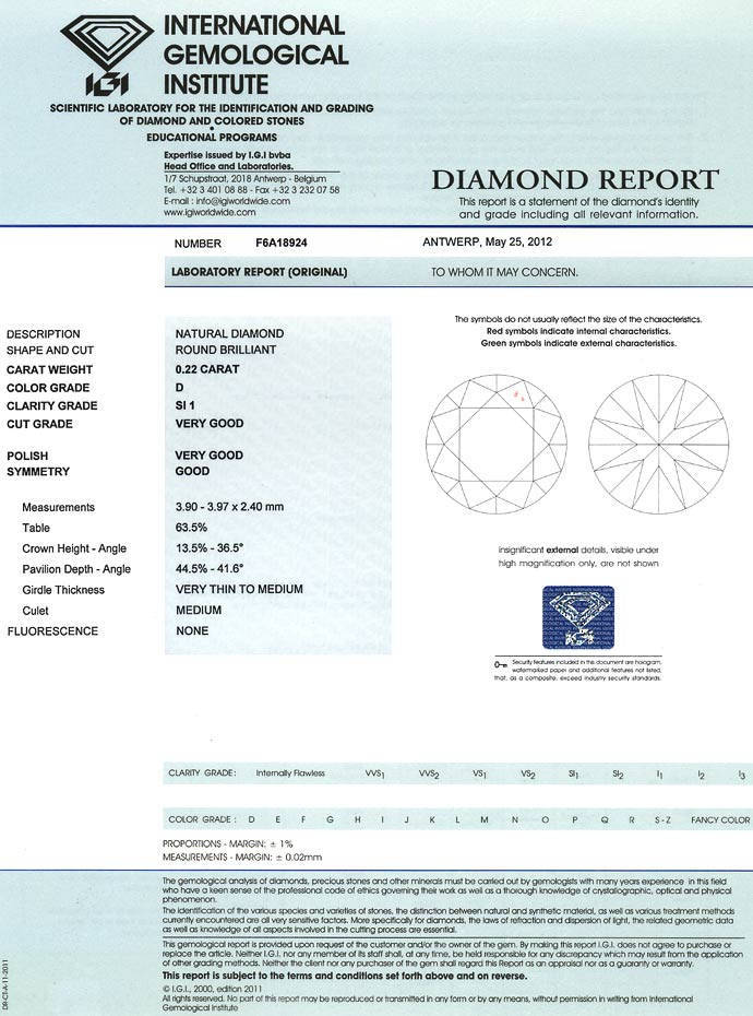 Foto 9, 0,22ct Diamant in River D Hochfeines Weiss Plus SI1 IGI, D6644
