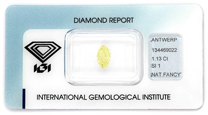 Foto 1, Zitronen-Diamantnavette 1,13ct Natural Fancy Yellow IGI, D6649