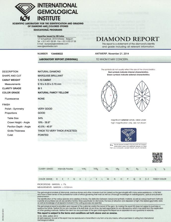 Foto 9, Zitronen-Diamantnavette 1,13ct Natural Fancy Yellow IGI, D6649