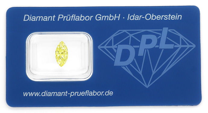 Foto 1, Diamant 1,062ct Fancy Vivid Yellow Zitrone Navette, DPL, D6669