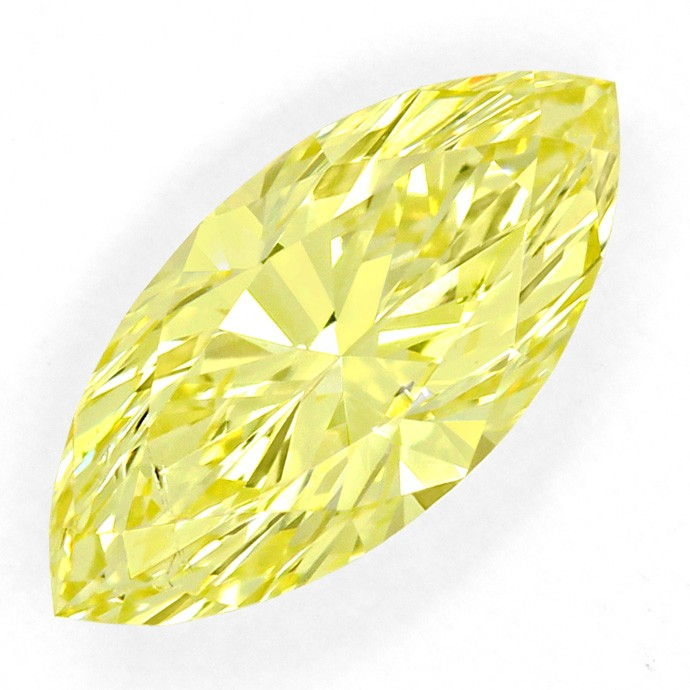 Foto 2, Diamant 1,062ct Fancy Vivid Yellow Zitrone Navette, DPL, D6669
