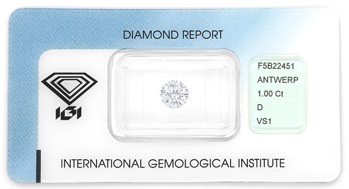 Foto 1, Top Brillant 1,0ct mit Expertise von IGI in River D VS1, D6674