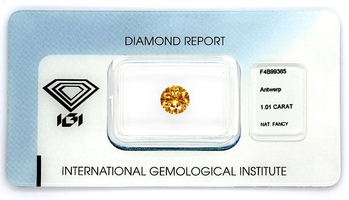 Foto 1, Brillant 1,01 Carat Natural Fancy Brown Gold Bronze IGI, D6675