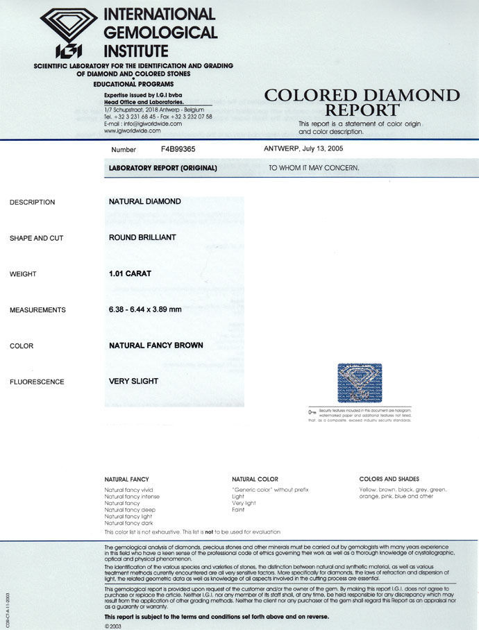 Foto 9 - Brillant 1,01 Carat Natural Fancy Brown Gold Bronze IGI, D6675
