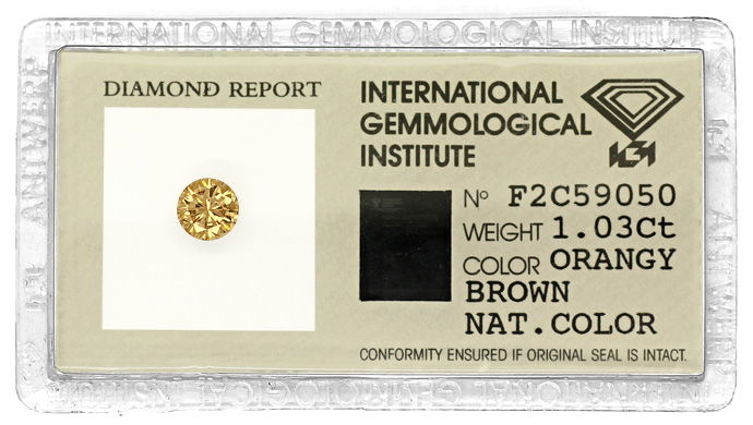 Foto 1, Brilliant IGI 1,03ct Natural Orangy Brown Bronze Cognac, D6676