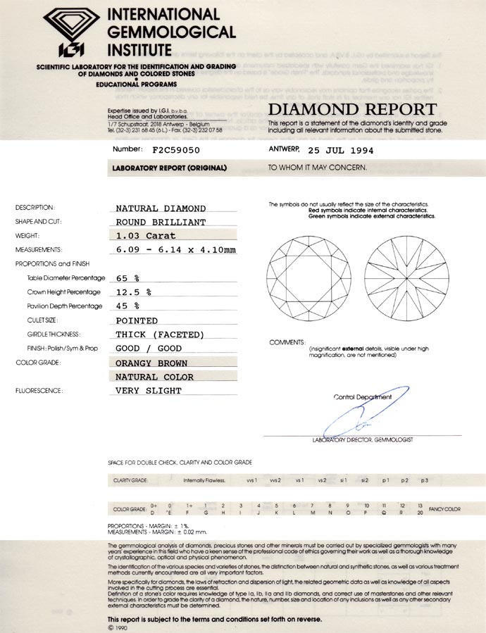 Foto 9, Brilliant IGI 1,03ct Natural Orangy Brown Bronze Cognac, D6676
