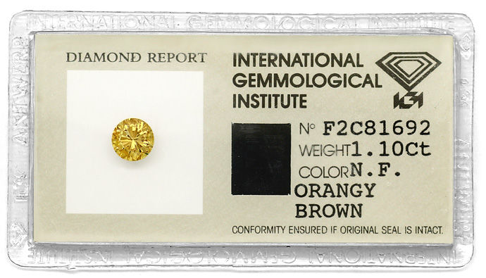Foto 1, Brillant IGI 1,1ct in Natural Fancy Orangy Brown Cognac, D6677