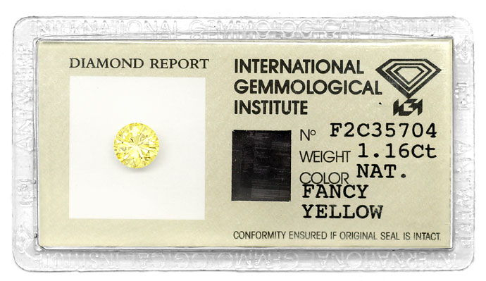 Foto 1, Diamant 1,16 Brilliant Natural Fancy Yellow Zitrone IGI, D6678