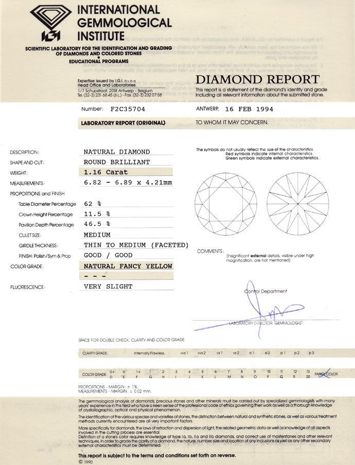 Foto 9 - Diamant 1,16 Brilliant Natural Fancy Yellow Zitrone IGI, D6678
