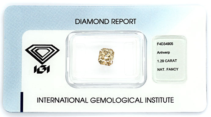 Foto 1, 1,29ct Diamant Cornered Rectangular Fancy Gr. Brown IGI, D6679
