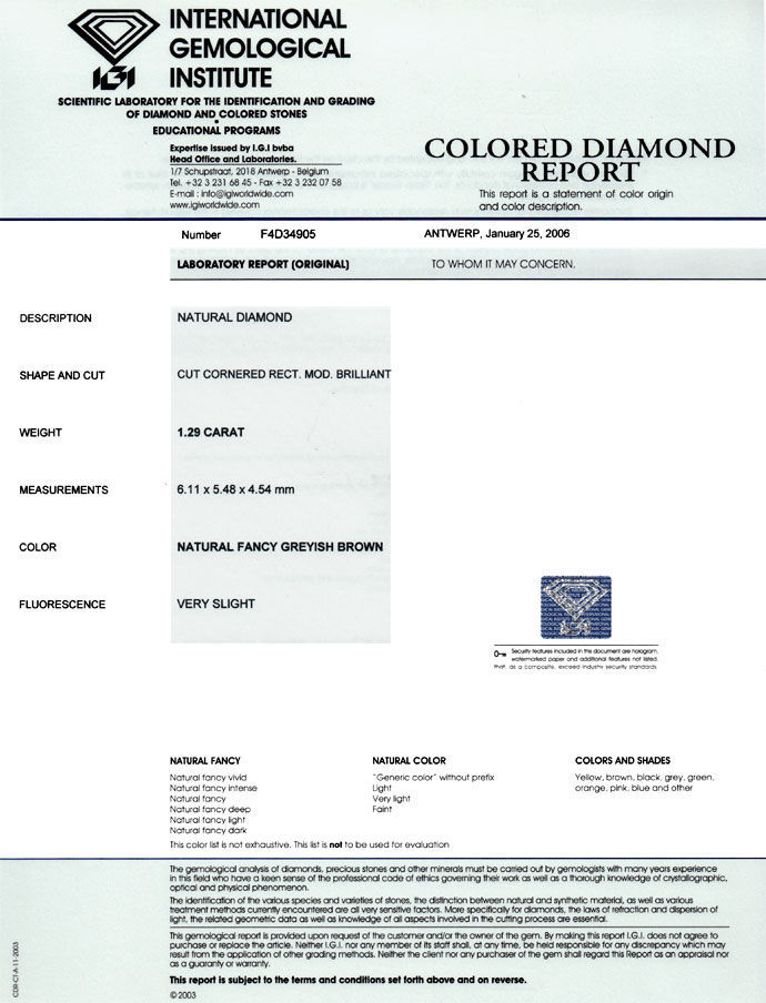 Foto 9, 1,29ct Diamant Cornered Rectangular Fancy Gr. Brown IGI, D6679