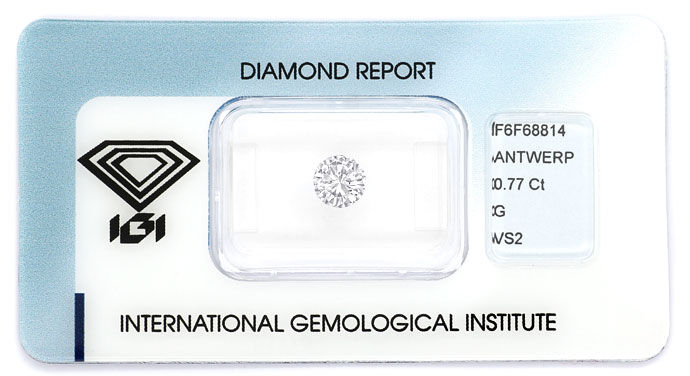Foto 1, 0,77ct Brilliant IGI-Zertifikat in Top Wesselton G, VS2, D6688