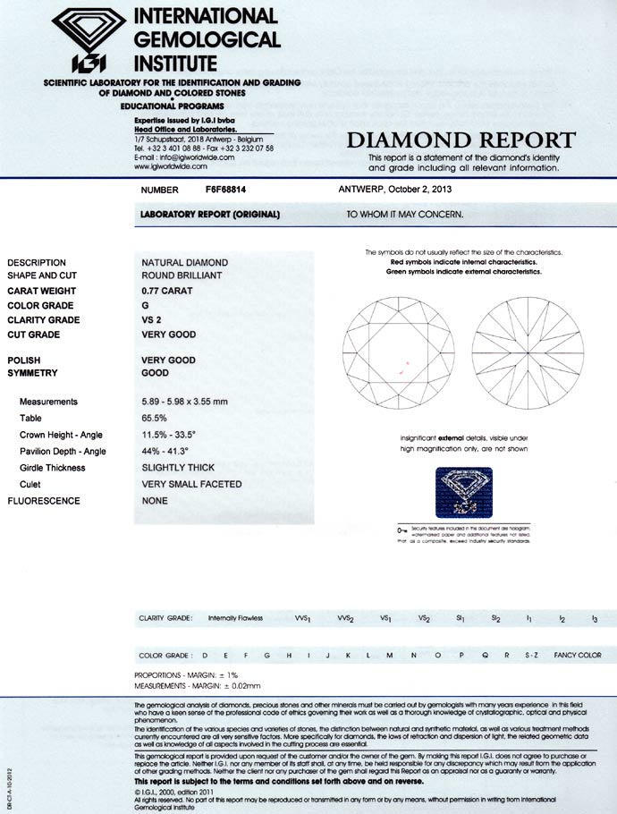Foto 9, 0,77ct Brilliant IGI-Zertifikat in Top Wesselton G, VS2, D6688