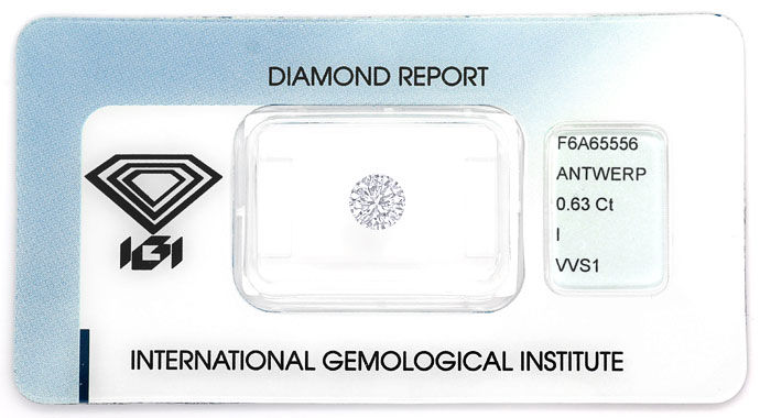 Foto 1 - Brillant 0,63 Carat in Top Crystal VVS1, IGI Zertifikat, D6690