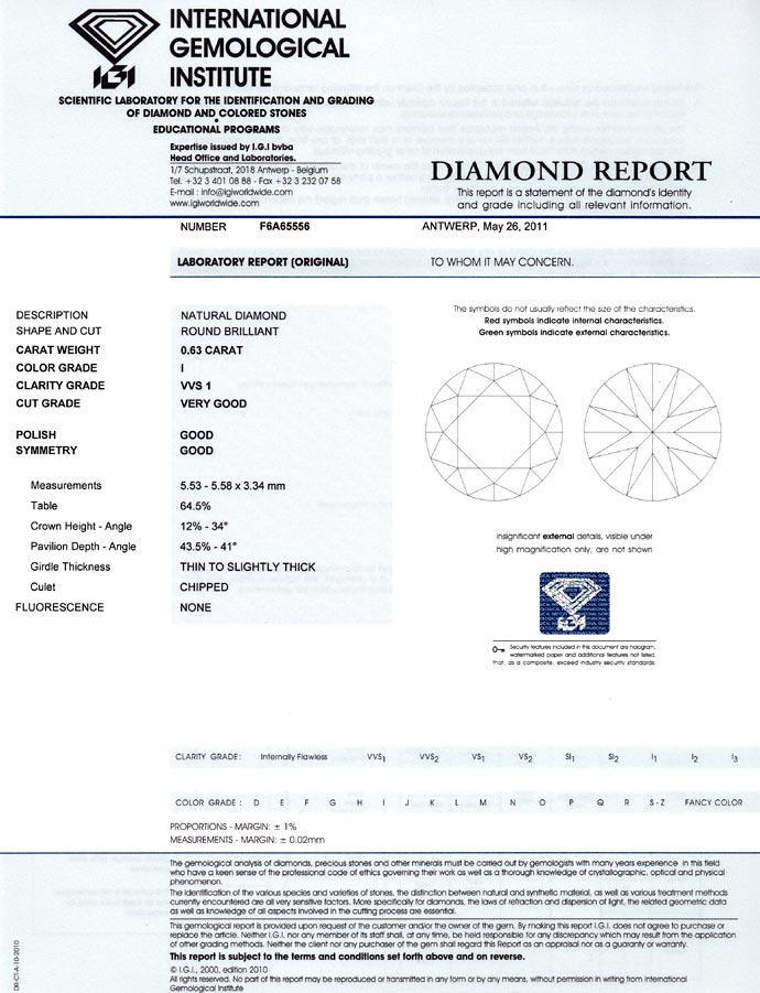 Foto 9, Brillant 0,63 Carat in Top Crystal VVS1, IGI Zertifikat, D6690