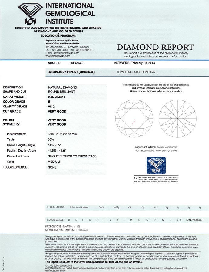 Foto 9 - Diamant 0,25ct Brillant Zertifikat von IGI in River VS2, D6693