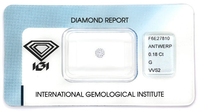 Foto 1, Brillant 0,18ct in Top Wesselton VVS Zertifikat von IGI, D6694