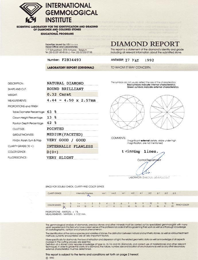 Foto 9, Diamant 0,32ct Lupenrein River D Brillant Expertise IGI, D6696