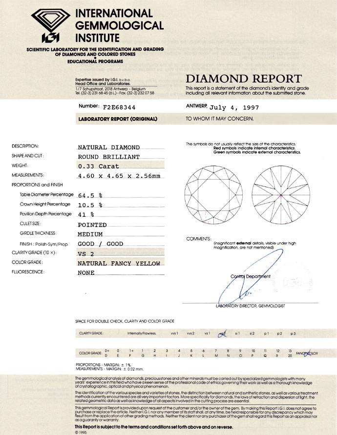 Foto 9, Diamant 0,33ct Brillant Fancy Yellow VS2 IGI Zertifikat, D6697