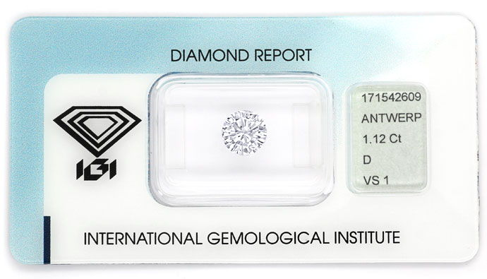 Foto 1, Diamant 1,12ct River D VS1 Brilliant mit IGI Zertifikat, D6712