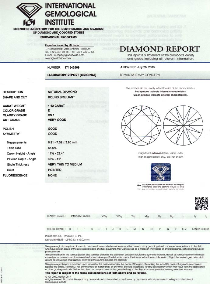 Foto 9, Diamant 1,12ct River D VS1 Brilliant mit IGI Zertifikat, D6712