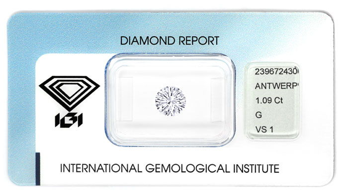 Foto 1, Diamant 1,09ct Top Wesselton VS1 Brillant IGI Gutachten, D6746