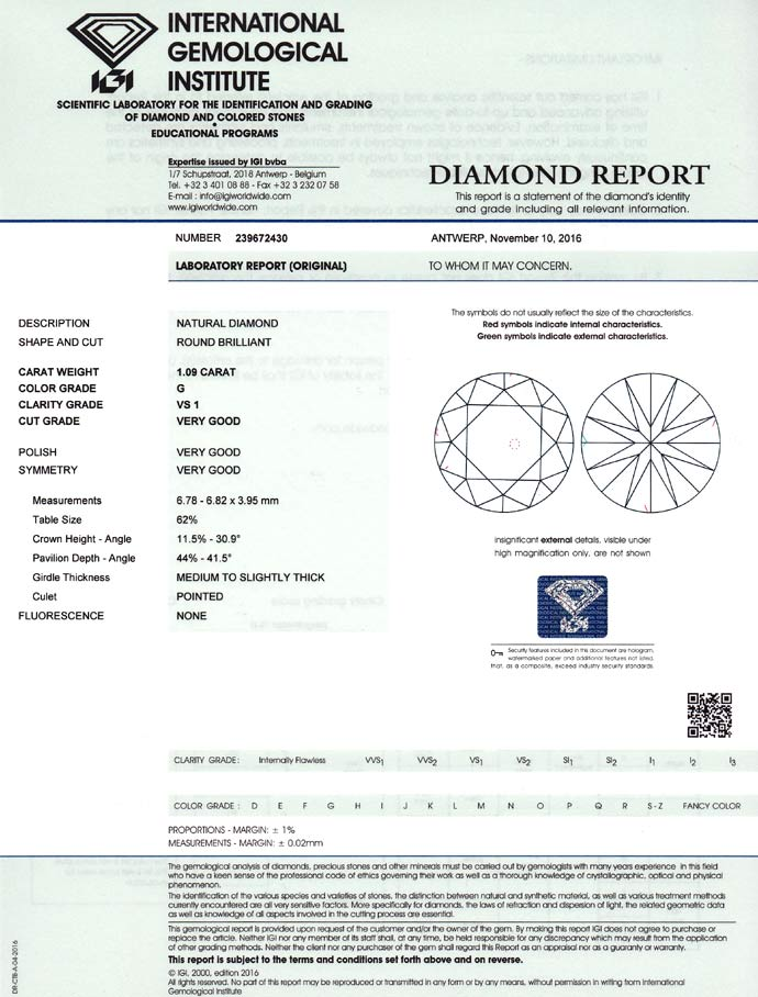 Foto 9, Diamant 1,09ct Top Wesselton VS1 Brillant IGI Gutachten, D6746