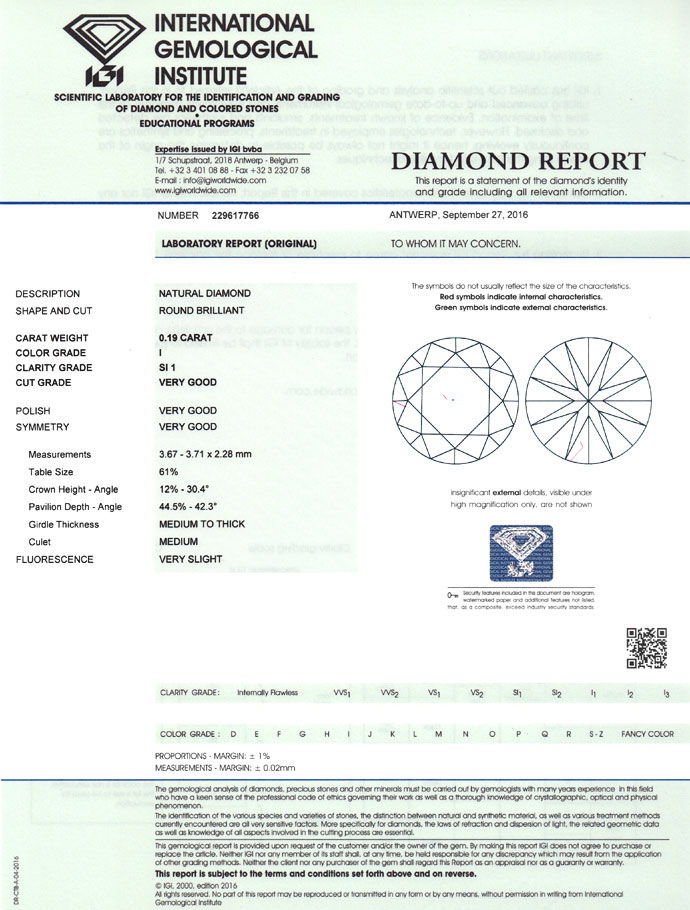 Foto 9, Brillant 0,19Carat in Top Crystal SI1 mit IGI Gutachten, D6757