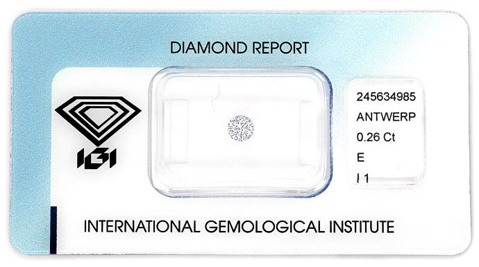 Foto 1, Diamant 0,26 in River P1 Brillant mit Expertise von IGI, D6761