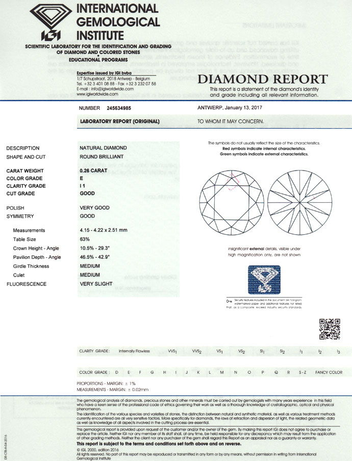 Foto 9, Diamant 0,26 in River P1 Brillant mit Expertise von IGI, D6761