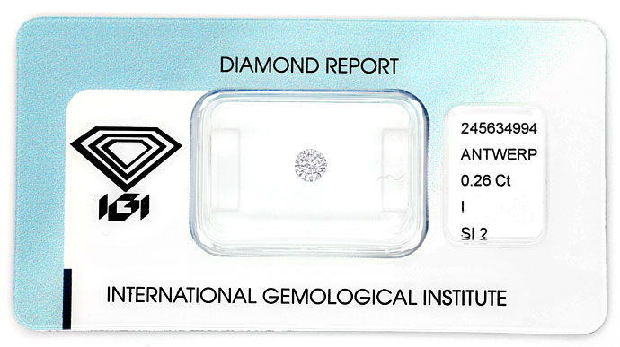 Foto 1, Brillant 0,26ct in Top Crystal SI mit Expertise von IGI, D6762